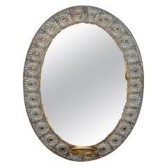 Decorative Pierced Metal Candleholder Mirror, 20th Century