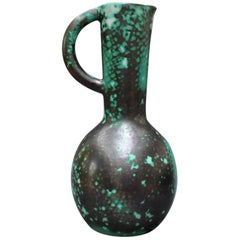 Decorative Pillar Design Green and Black Pitcher by Primavera, circa 1930s
