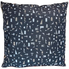 Decorative Pillow in Charcoal Foundation Textile with Geometric Letter Accents