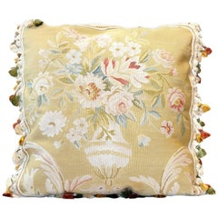 Decorative Pillows, Floral Vintage Pure Silk Aubusson Style Pillow Cushion Cover