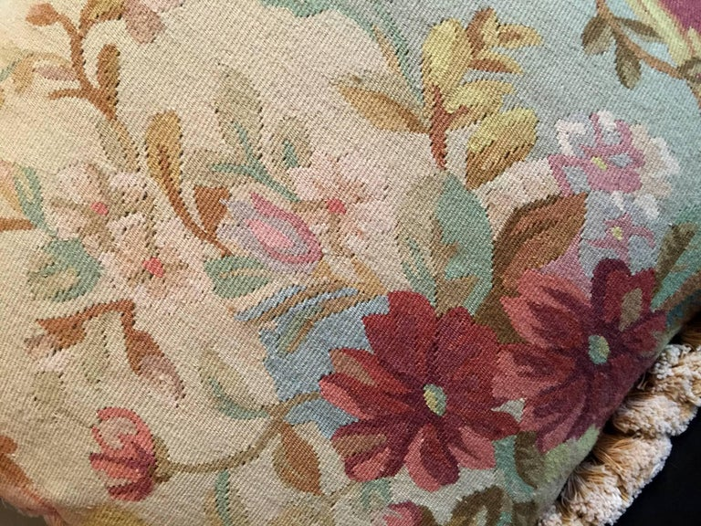 French Provincial Decorative Pillows, Vintage French Style Aubusson Style Pillow Cushion For Sale