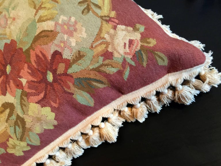 Woven Decorative Pillows, Vintage French Style Aubusson Style Pillow Cushion For Sale