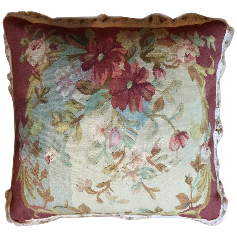 Decorative Pillows, Vintage French Style Aubusson Style Pillow Cushion For Sale