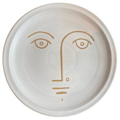 Decorative Plate in Ceramic with Face Signed by Dalo
