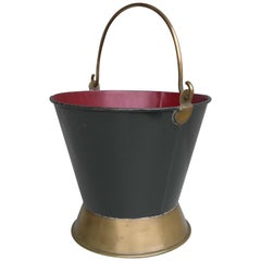 Decorative Red and Green Metal Firewood Bucket with Fine Brass Details