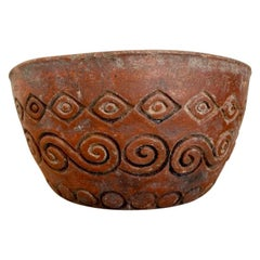 Decorative Red Clay Ceramic Bowl from Puebla, Mexico, circa 1980's