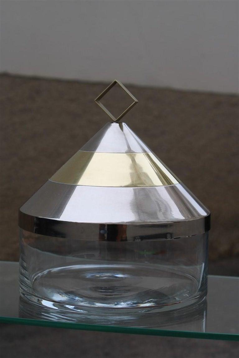 Mid-Century Modern Decorative Round Box in Glass Steel Gilded Brass Italian Design 1970 Romeo Rega For Sale
