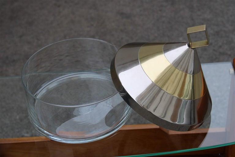 Decorative Round Box in Glass Steel Gilded Brass Italian Design 1970 Romeo Rega In Good Condition For Sale In Palermo, Sicily