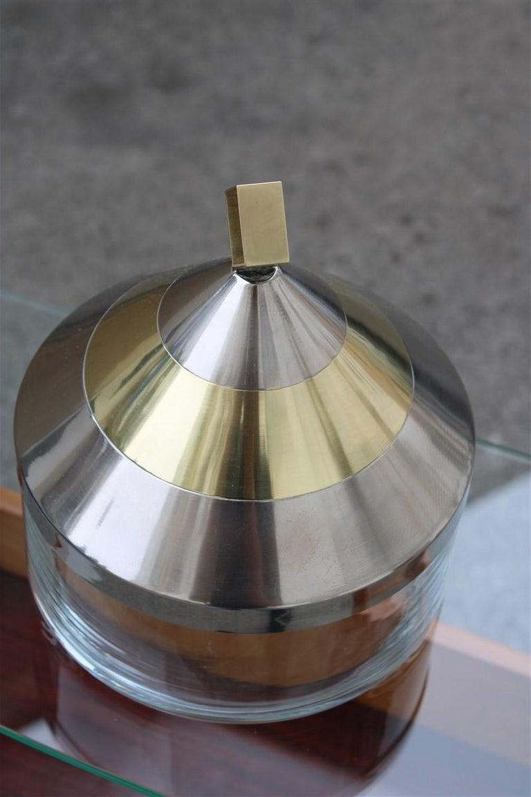 Late 20th Century Decorative Round Box in Glass Steel Gilded Brass Italian Design 1970 Romeo Rega For Sale