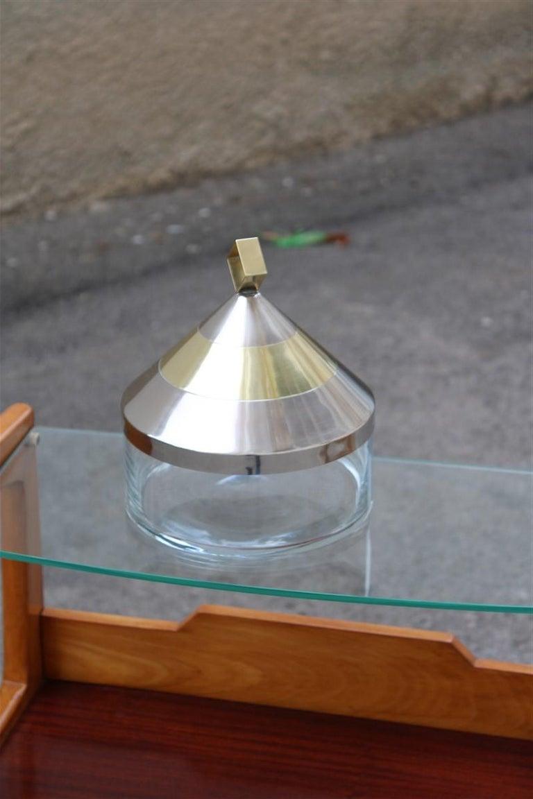 Decorative Round Box in Glass Steel Gilded Brass Italian Design 1970 Romeo Rega For Sale 1