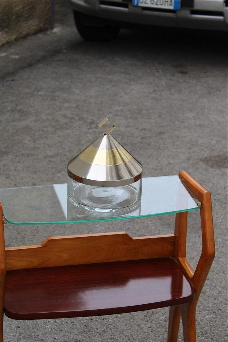 Decorative Round Box in Glass Steel Gilded Brass Italian Design 1970 Romeo Rega For Sale 2