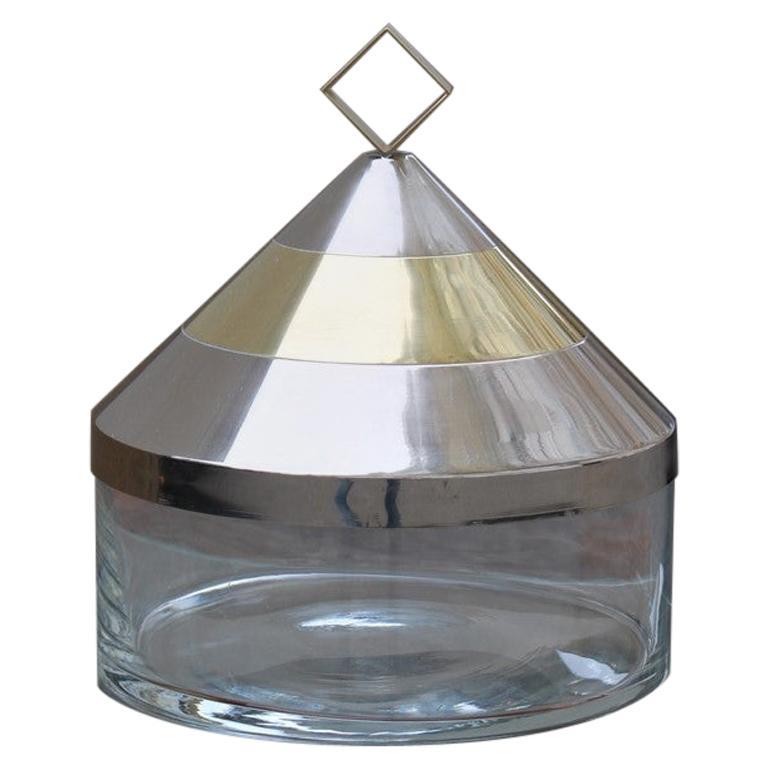 Decorative Round Box in Glass Steel Gilded Brass Italian Design 1970 Romeo Rega For Sale