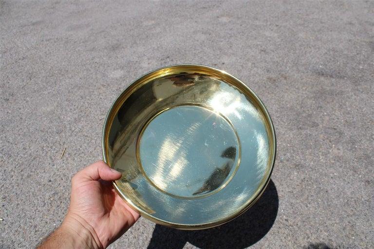 European Decorative Round Brass Gold Bowl Midcentury Italian Design For Sale