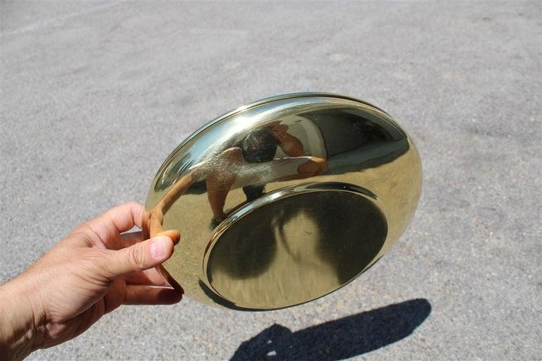 Mid-20th Century Decorative Round Brass Gold Bowl Midcentury Italian Design For Sale