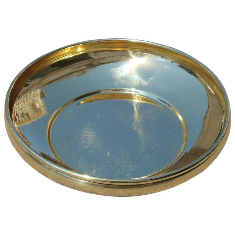 Decorative Round Brass Gold Bowl Midcentury Italian Design For Sale