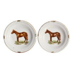 Traditional Style Round Equestrian Style Horse Plates with Gold Trim, a Pair