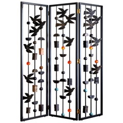 Decorative Screen, Blackened Steel with Sculptural Features by Margit Wittig