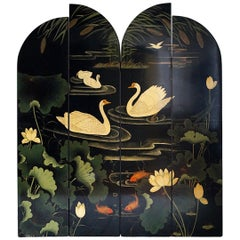 Decorative Screen with Flowers and Swans, France, 1970s