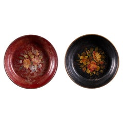 Decorative Set of 2 Charming Hand Painted Metal Plates