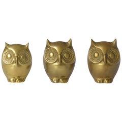 Decorative set of 3 Brass Owls