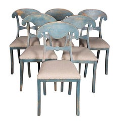 Decorative Set of Six Antique 19th Century Swedish Chairs with Blue Patina