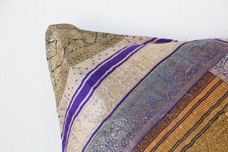 Moorish Decorative Silk Throw Pillow Made from Vintage Sari Borders, India For Sale