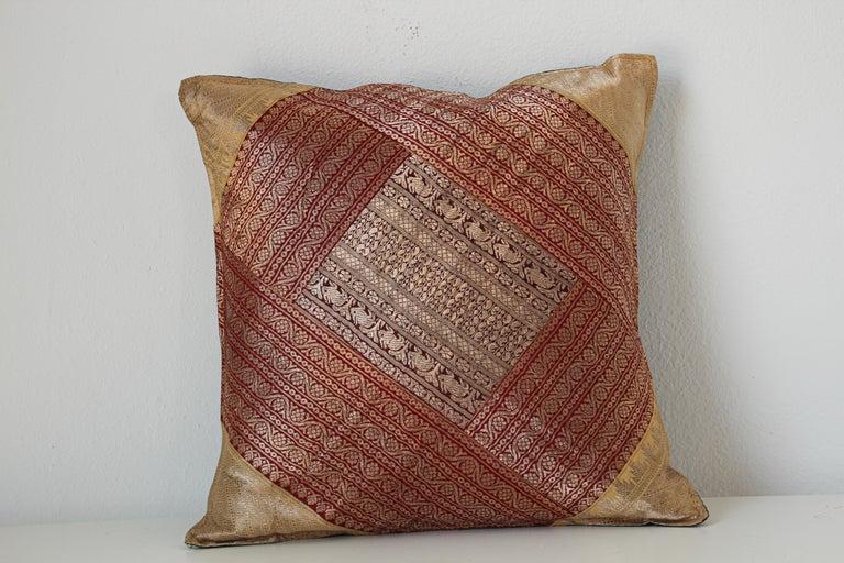 Moorish Decorative Silk Throw Pillow Made from Vintage Sari Borders, India For Sale