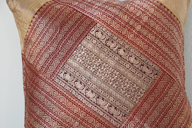 Indian Decorative Silk Throw Pillow Made from Vintage Sari Borders, India For Sale