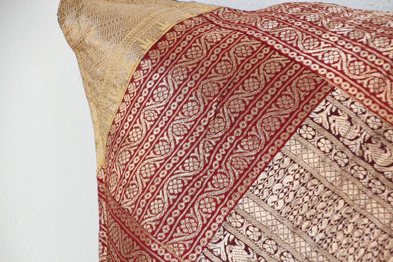 Beaded Decorative Silk Throw Pillow Made from Vintage Sari Borders, India For Sale
