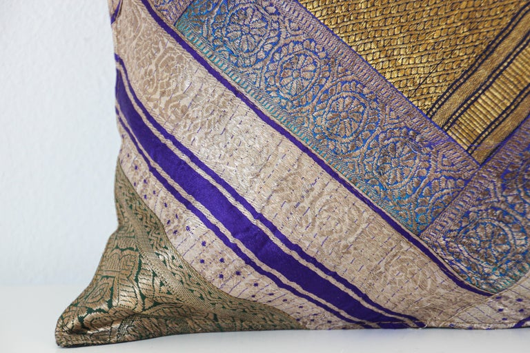 Decorative Silk Throw Pillow Made from Vintage Sari Borders, India In Good Condition For Sale In North Hollywood, CA