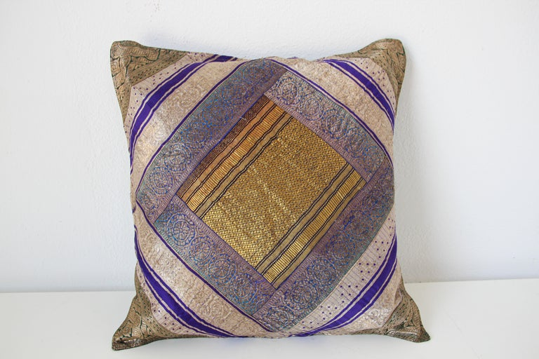 20th Century Decorative Silk Throw Pillow Made from Vintage Sari Borders, India For Sale