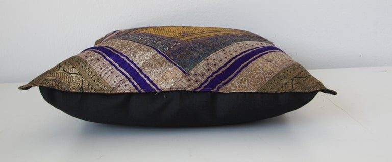 Fabric Decorative Silk Throw Pillow Made from Vintage Sari Borders, India For Sale