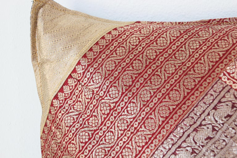 Decorative Silk Throw Pillow Made from Vintage Sari Borders, India For Sale 1