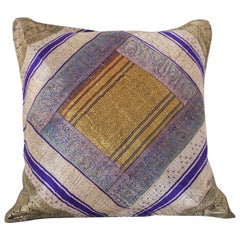Decorative Silk Throw Pillow Made from Vintage Sari Borders, India
