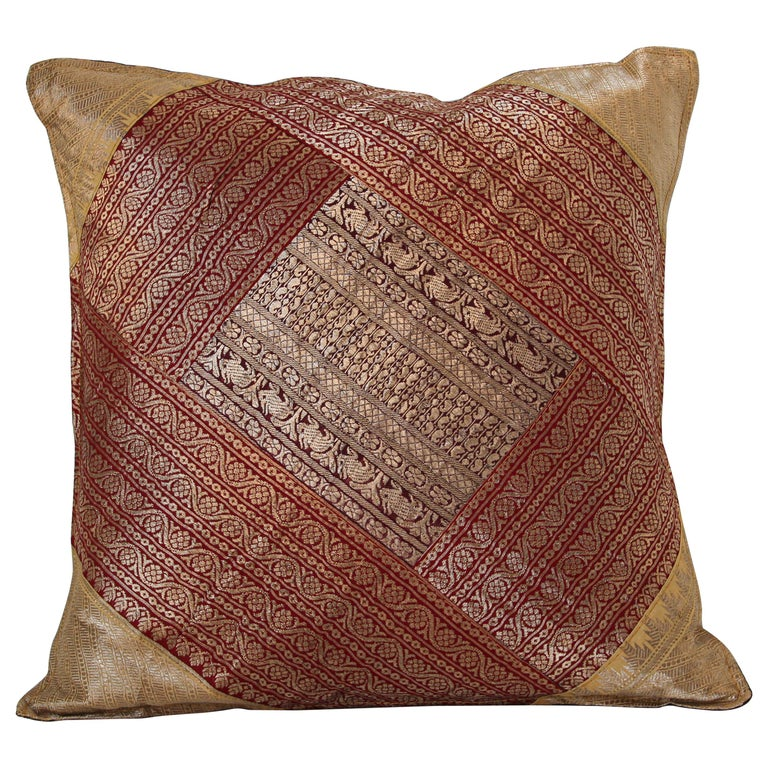 Decorative Silk Throw Pillow Made from Vintage Sari Borders, India For Sale
