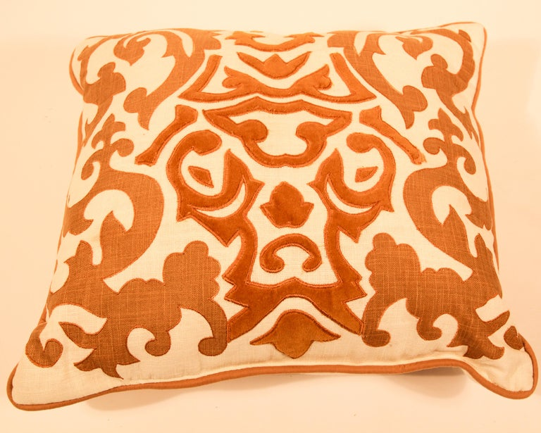 Silk decorative accent pillow with Baroque Moorish decor gold velvet applique in front of the pillow, Light orange and gold silk velvet applique on cream color backing. Decorative twisted trims all around.  Nice accent throw decorative pillow.