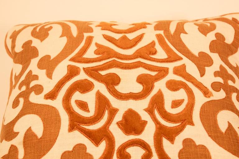 Moorish Decorative Silk Velvet Applique Throw Pillow For Sale