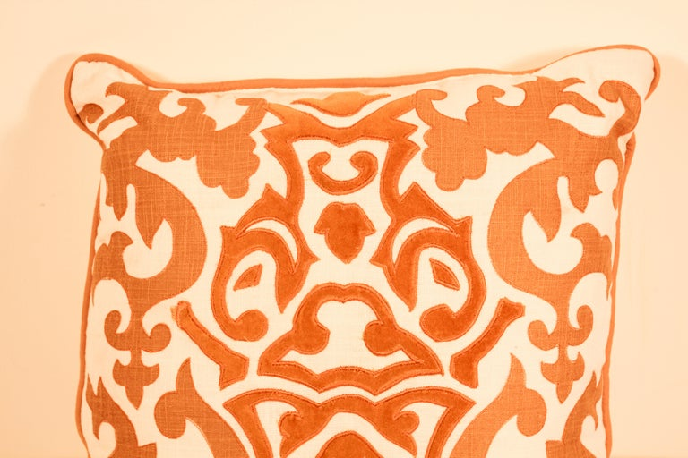 20th Century Decorative Silk Velvet Applique Throw Pillow For Sale
