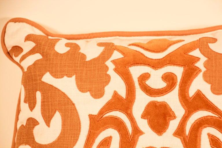 Decorative Silk Velvet Applique Throw Pillow For Sale 1