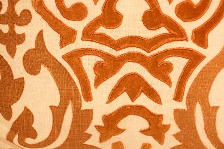 Decorative Silk Velvet Applique Throw Pillow For Sale 2