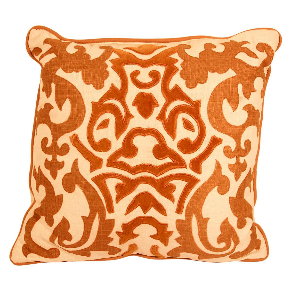 Decorative Silk Velvet Applique Throw Pillow