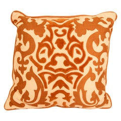 Decorative Silk Velvet Applique Throw Pillow