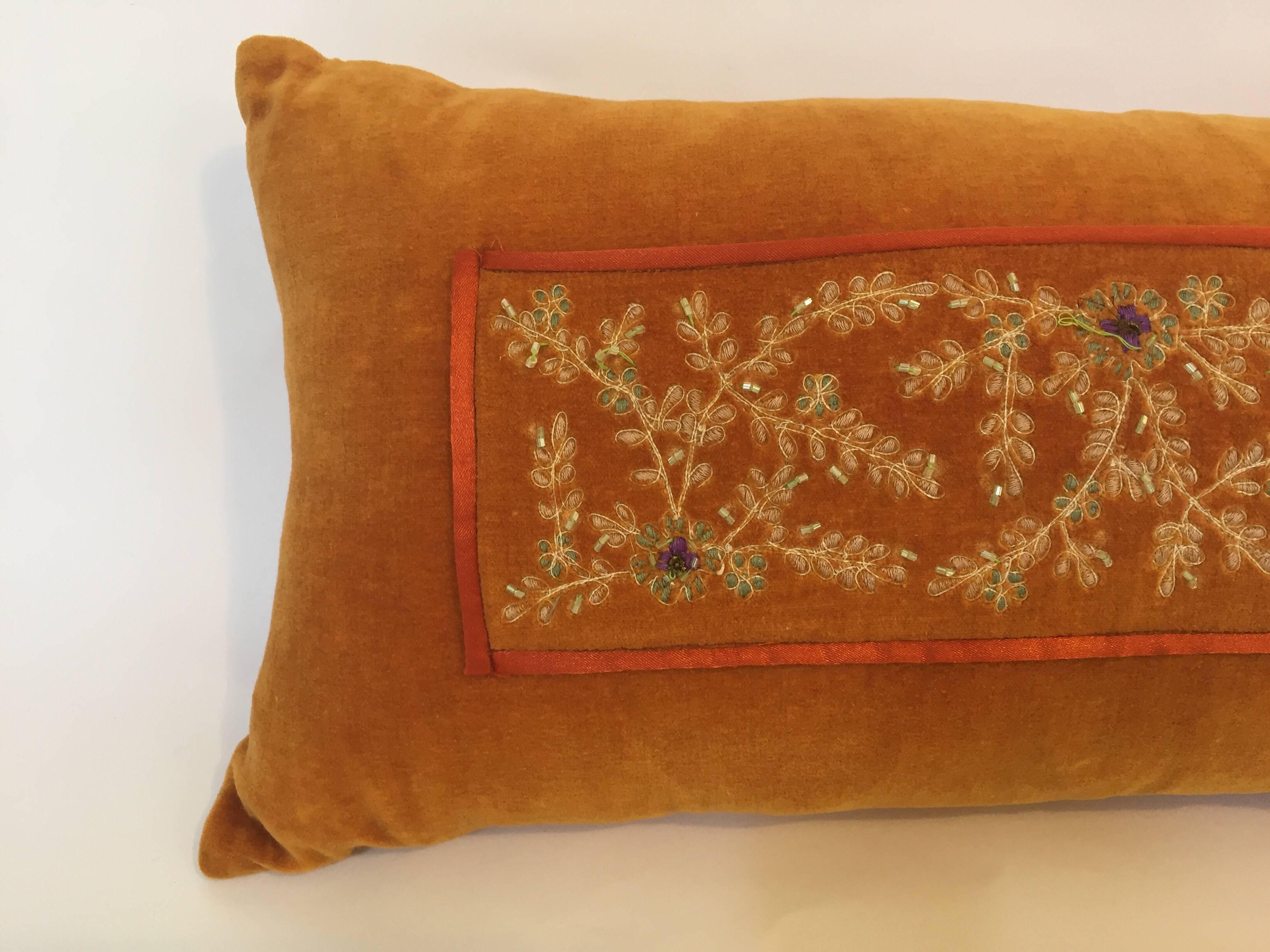 Decorative Silk Velvet Burnt Orange Throw Pillow Embellished with