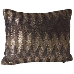 Decorative Silver Sequins Cushion Hand Embroidery Art Deco Style