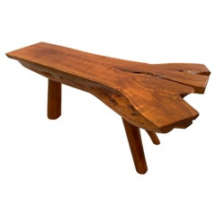 Decorative Split Wood Log Coffee or Side Table or Bench