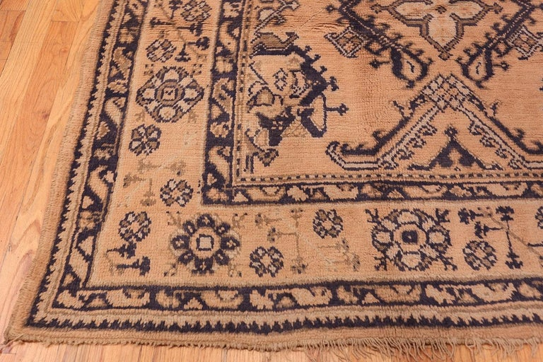 Hand-Knotted Decorative Square Size Antique Turkish Oushak Carpet For Sale