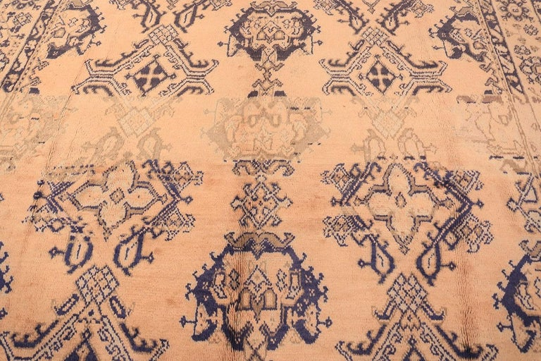 Decorative Square Size Antique Turkish Oushak Carpet In Good Condition For Sale In New York, NY