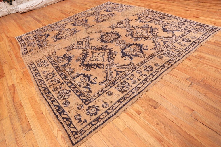 20th Century Decorative Square Size Antique Turkish Oushak Carpet For Sale