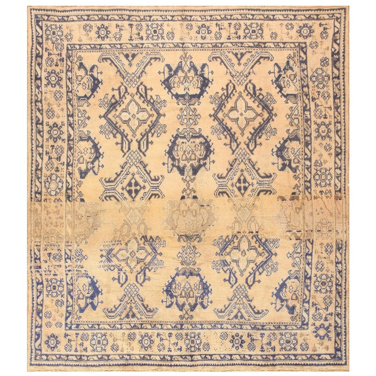 Decorative Square Size Antique Turkish Oushak Carpet For Sale
