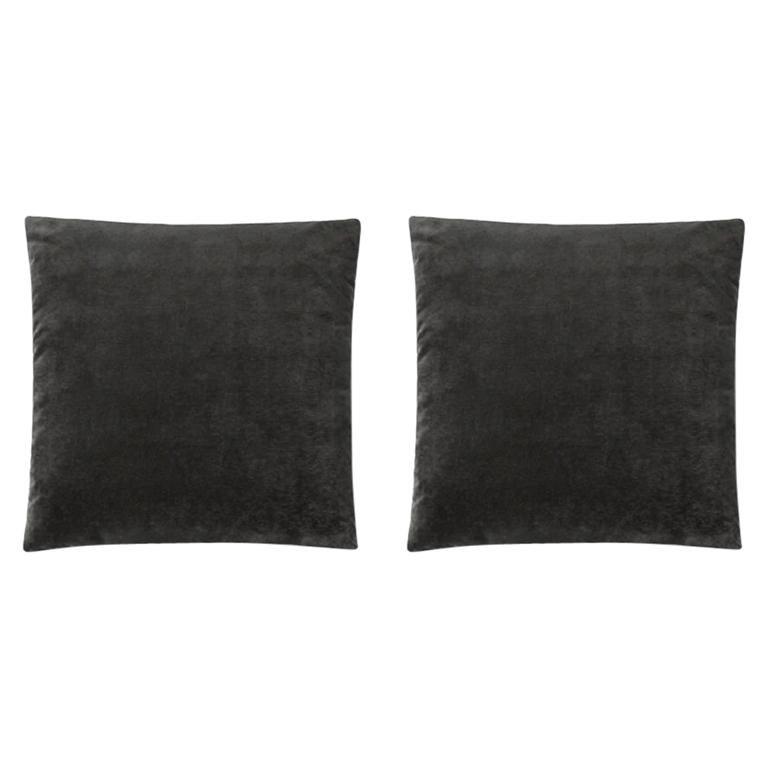 Molteni&C Square Decorative Cushion Pair Dark Grey Velvet For Sale